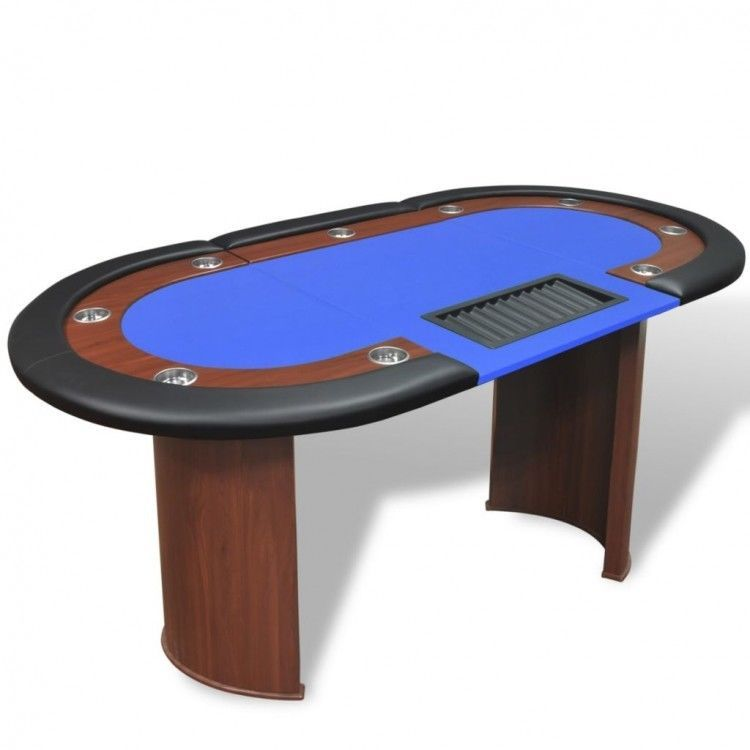 Poker Table Texas Holdem 10 Player Blue Felt Tabletop Stainless Steel Cup Holder Vidaxl Poker Table Poker Card Game Table