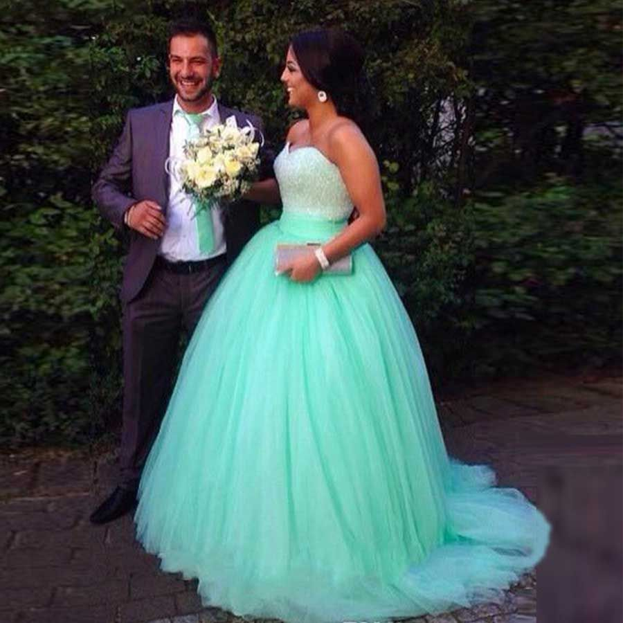 Click to Buy << Cheap Masquerade Ball Gowns Puffy Mint Green ...