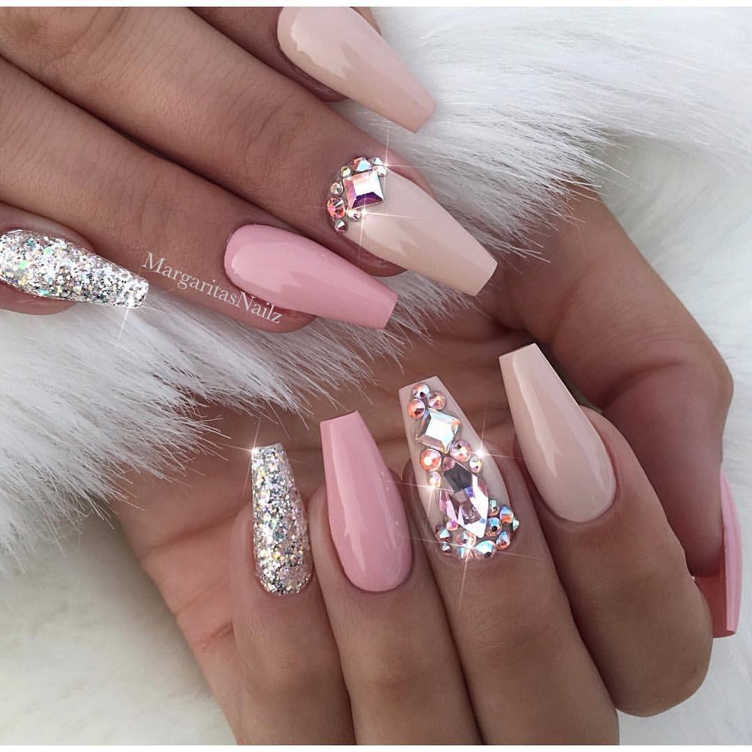 Nude coffin nails Bling Swarovski design Glitter nail art designs ...