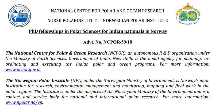 ESSO NCPOR (NCAOR) Recruitment of PhD fellowships in Polar