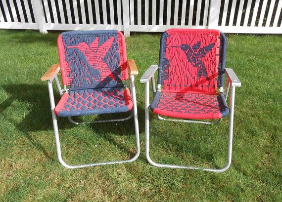 Vintage Aluminum Lawn Chairs With Macrame By