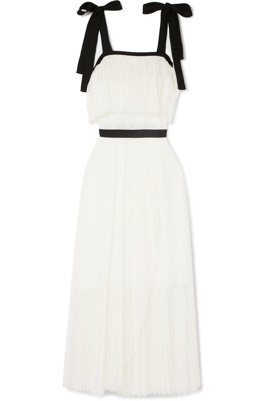 Discount Choice Low Price Sale Online Tiered Plissé Swiss-dot Tulle Dress - White Philosophy di Lorenzo Serafini Limited Edition For Sale a7J5XgoL