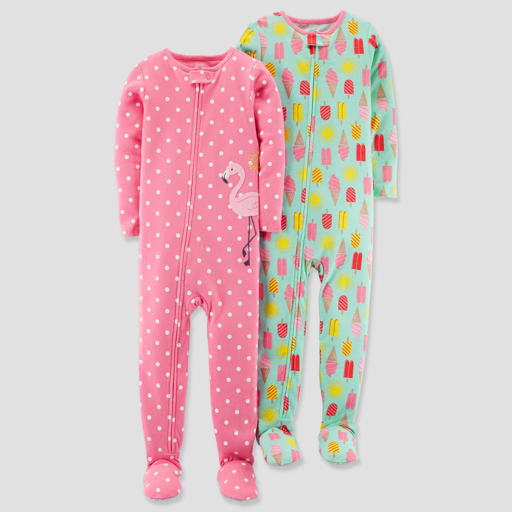 4cbb7875a67e Toddler Girls  2pk Cotton Polka Dot   Ice Cream Footed Pajama Set ...