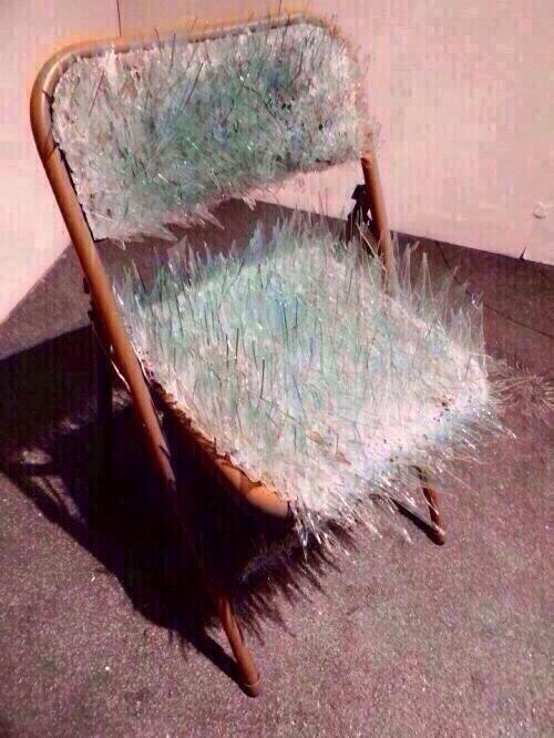 folding chair jokes inflatable shards of broken glass on art mirror