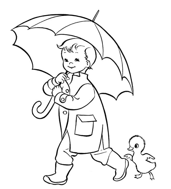 Umbrella And The Children Coloring Pages Kids Coloring