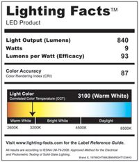 Led Lighting Facts Label Look For Lumens 60w Incandescent
