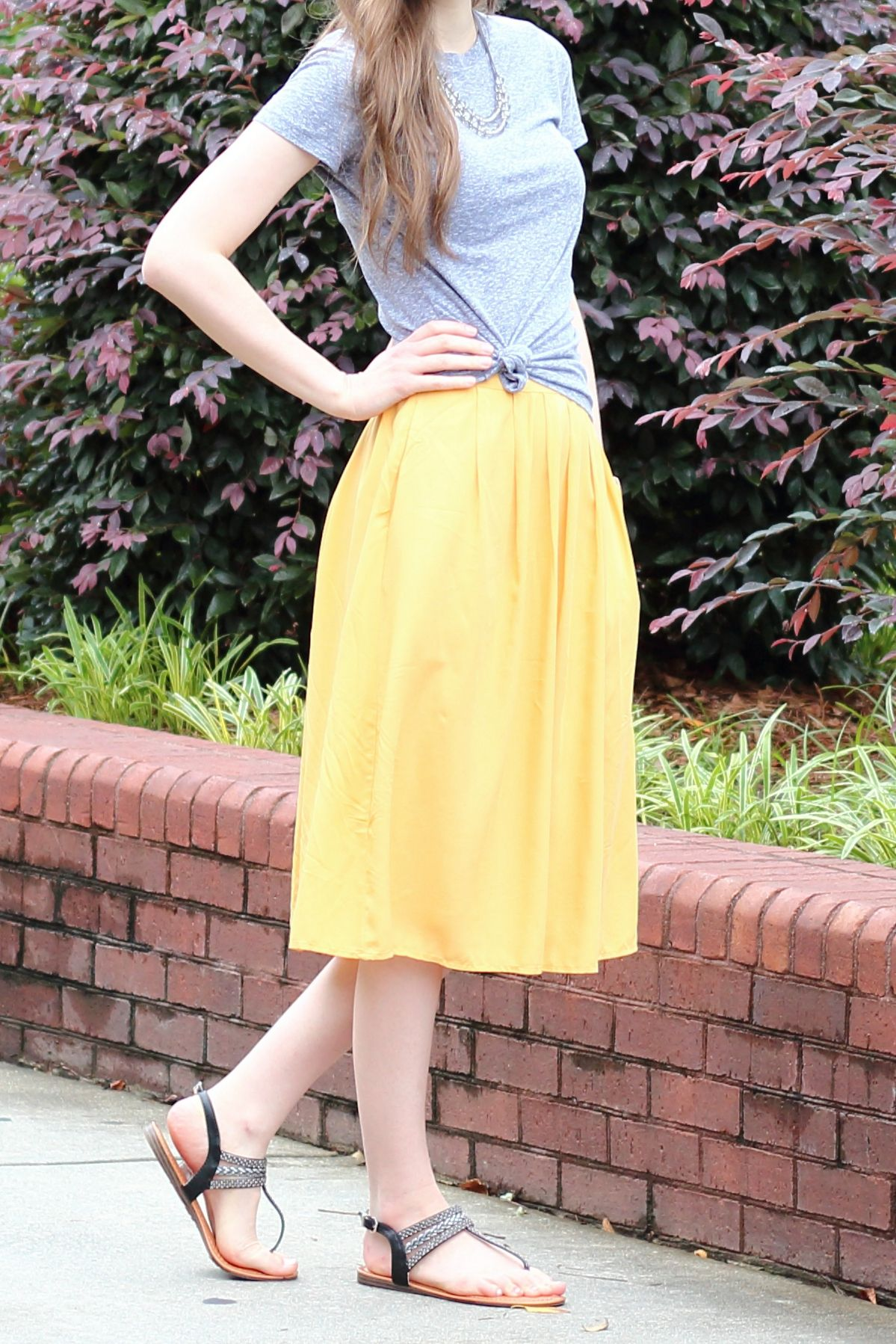 6aae06202f1f Modest Casual Outfit Idea For Church  Yellow Midi Skirt  Basic Gray  Tee  Black Sandals  Spring Summer Style ...