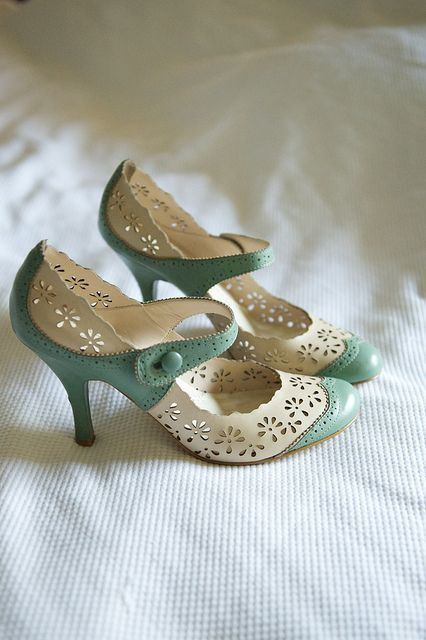 pretty green & white Mary Jane vintage style wedding shoes
