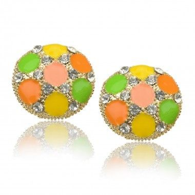 Crystal Multicolor Gold Studs