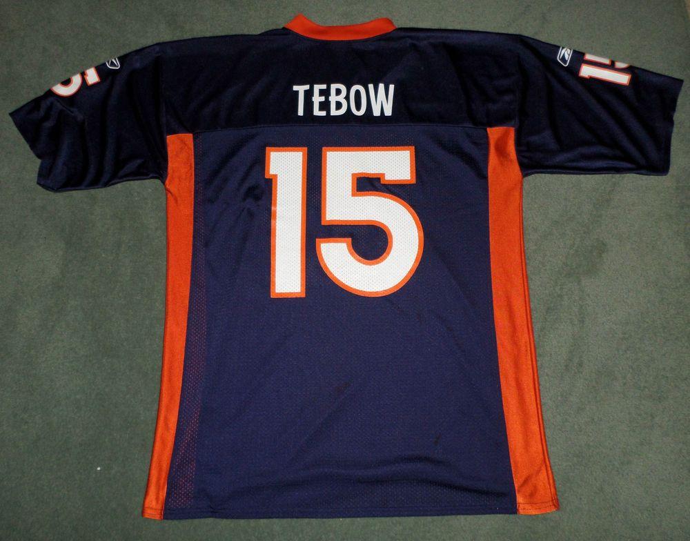 on sale 56336 4613b Men's Blue, Orange DENVER BRONCOS NFL #15 TIM TEBOW REEBOK ...