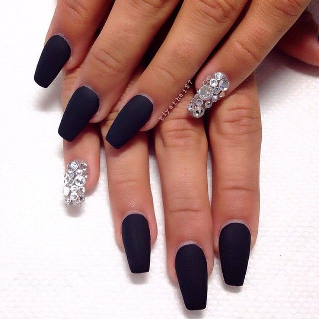 Matte Black + Bling Long Coffin Nails  #nail #nailart Simply Gorgeous