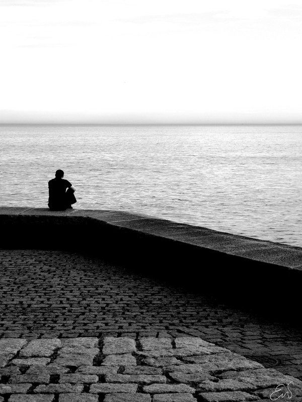 Alone With The Sea By Idrilbrokenwings Ocean Waves Black And White Photography Photography