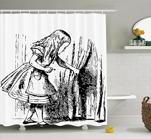 Alice In Wonderland Decorations Shower Curtain Set By Ambesonne Black And White Alice Looking Throug Bathroom Decor Sets Shower Curtain Art Shower Curtain Sets