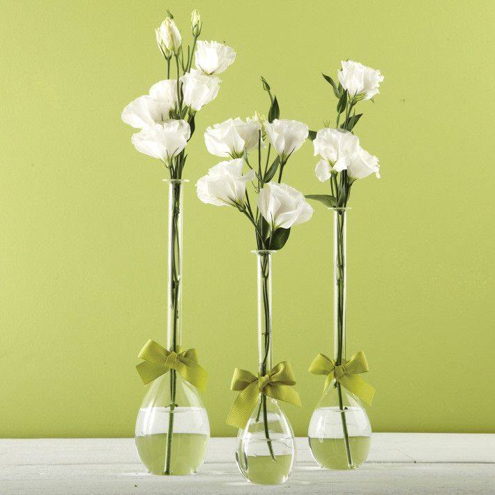 Two's Company Sleek And Chic Set of 3 Teardrop Vases with Sage Green Ribbon Includes 3 Sizes - Hand-Blown Glass – Modish Store