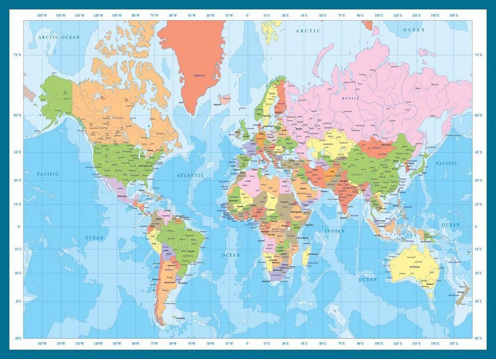 Eurographics - Map of the World Jigsaw Puzzle - 1000 pc #1271 ...