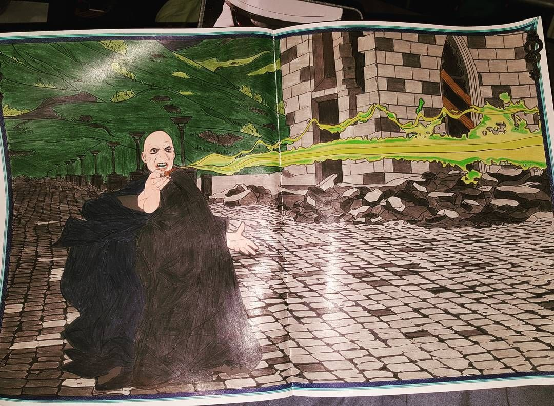 The Final Battle Took Me A While To Finish Harrypottercolouringbook Adu Harry Potter Coloring Book Harry Potter Coloring Pages Enchanted Forest Coloring Book