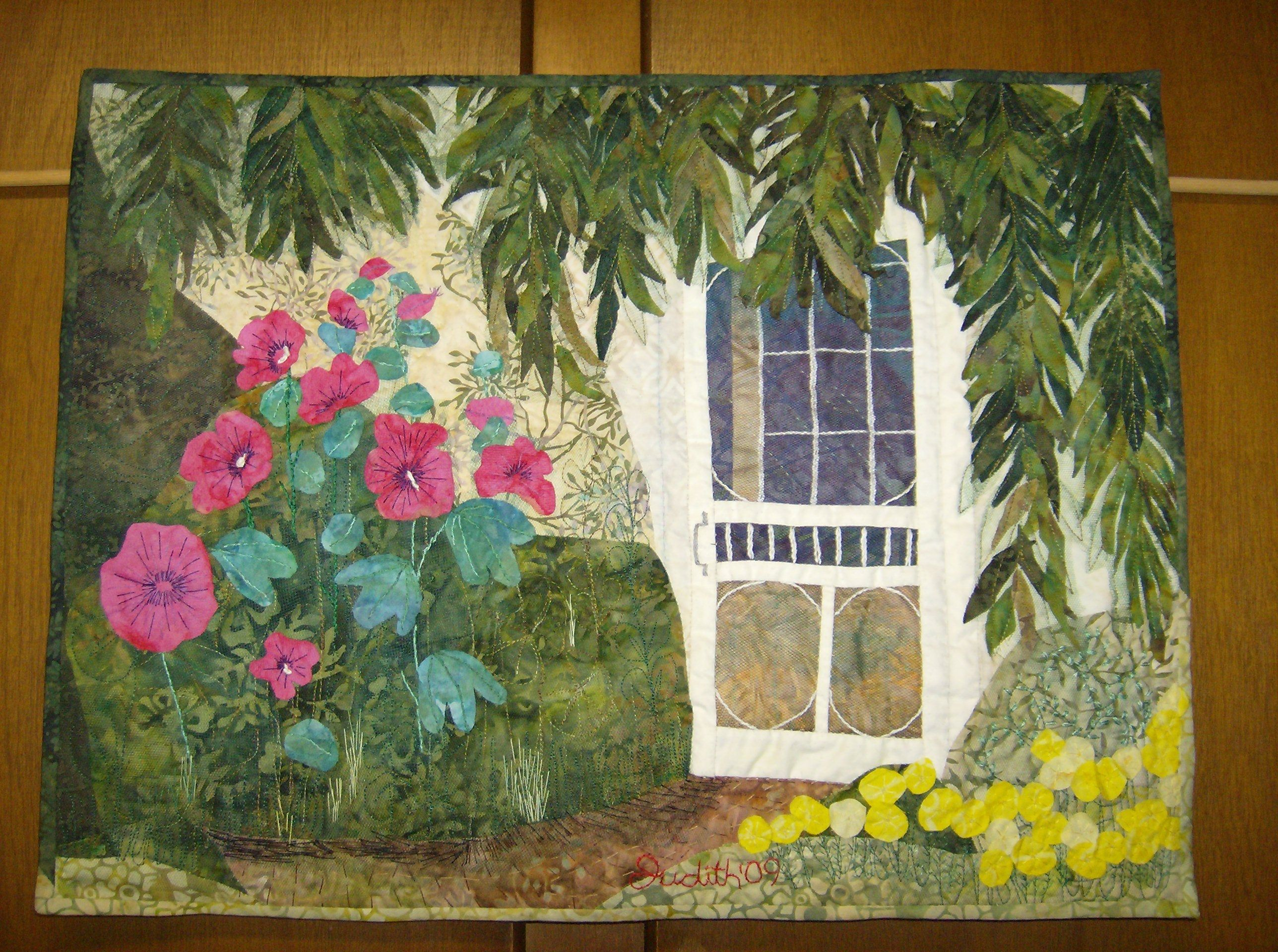 """Cottage by the Willow,"" by fibre artist Judith Veinot, feels so serene."