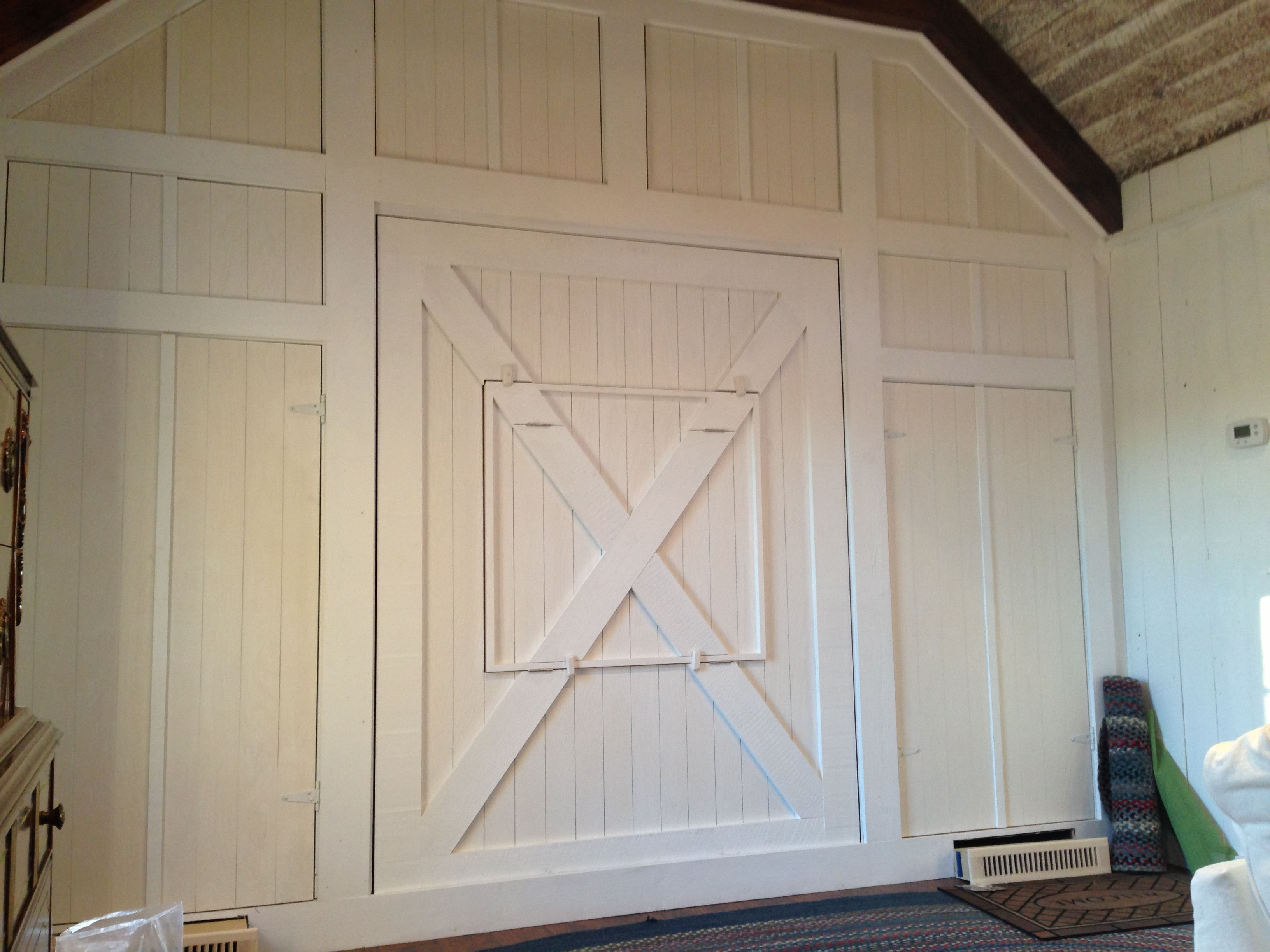 Closed Off Garage Doors And Added Murphy Bed And Closets From