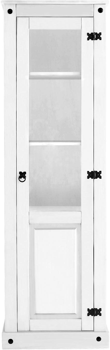 Details:  1 Türen mit Glaseinsatz, Türanschlag links, 1 fester Holzboden, 2 verstellbare Holzböden, 4 Fächer, Fachinnenmaße (B/T/H): ca. 50/33/ca. 39 cm, Im Landhaus-Stil, Metallgriffe,  Gesamtmaße:  (B/T/H): ca. 55/38/177 cm, Alles ca.-Maße.,  Material:  FSC®-zertifiziertes Massivholz,  Wissenswertes:  Selbstmontage mit Aufbauanleitung.,  FSC®-zertifiziertes Massivholz:  Das Holz dieser Prod...