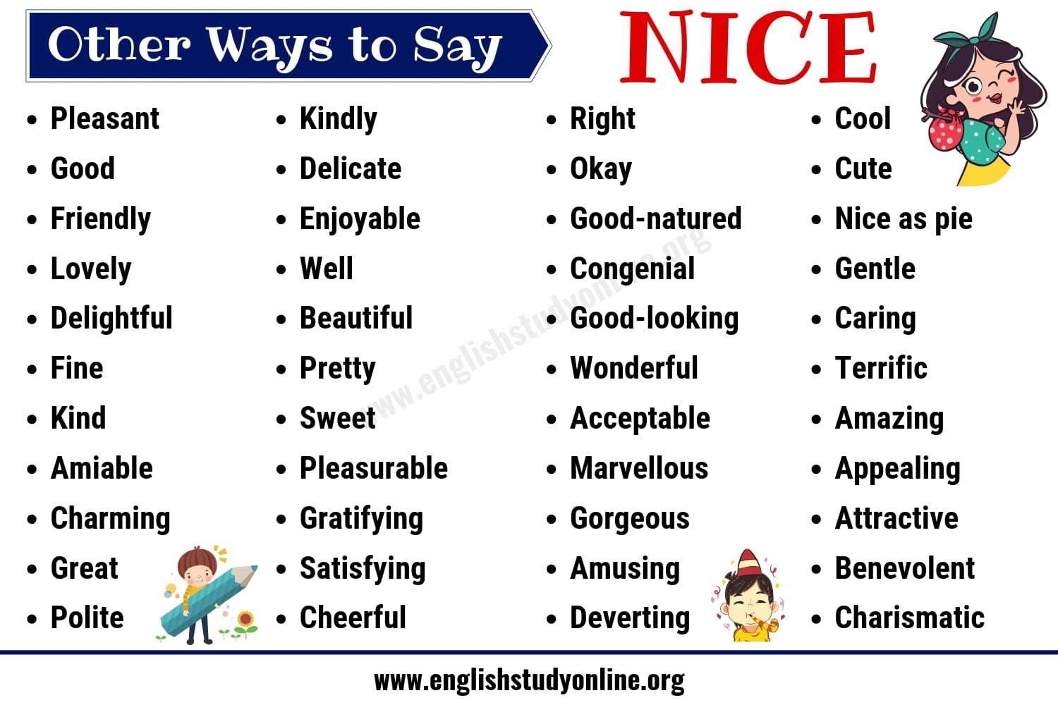 Nice Synonyms List Of 50 Useful Synonyms For Nice In English