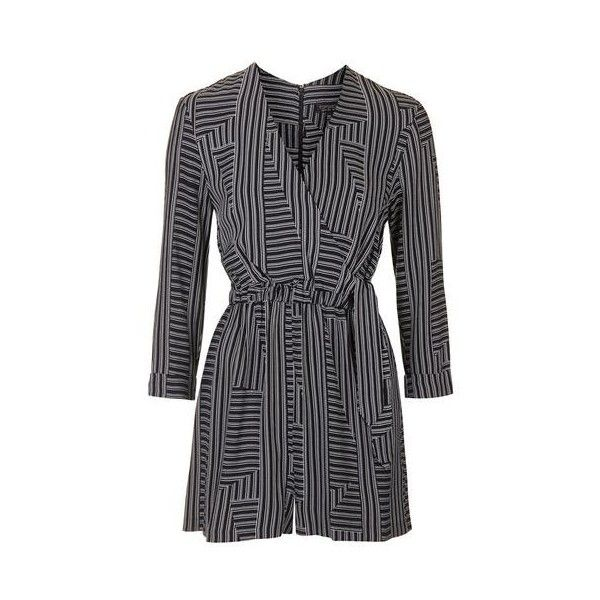 529b5f47ad2 TopShop Petite Stripe Wrap Playsuit ( 73) ❤ liked on Polyvore featuring  jumpsuits