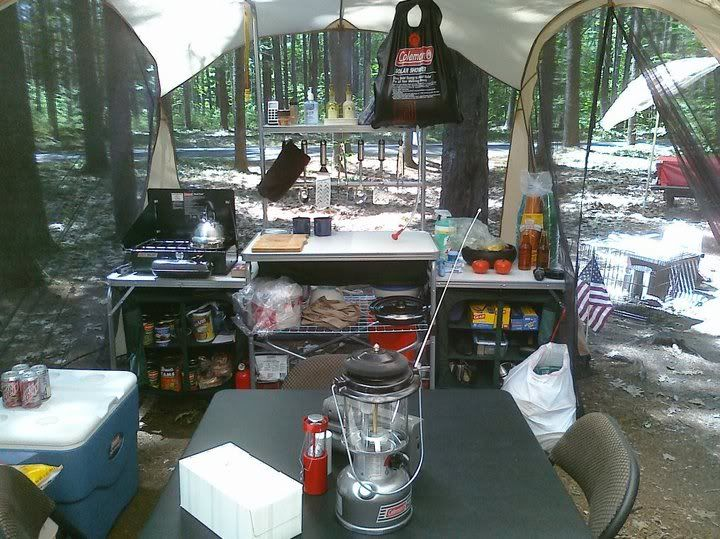 Camping Kitchen Set | Nice Cooking Set Up Must Not Have To Worry About Bear Or Other