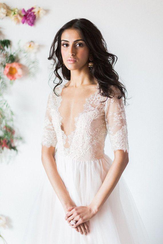 Blush wedding dress, ivory tulle bridal gown, illusion neckline ...