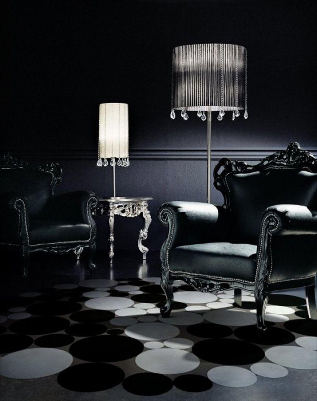 Interior , Gothic Interior Design for Dark but Attractive Home Decor Ideas : Black Furniture And Interior For Gothic Idea
