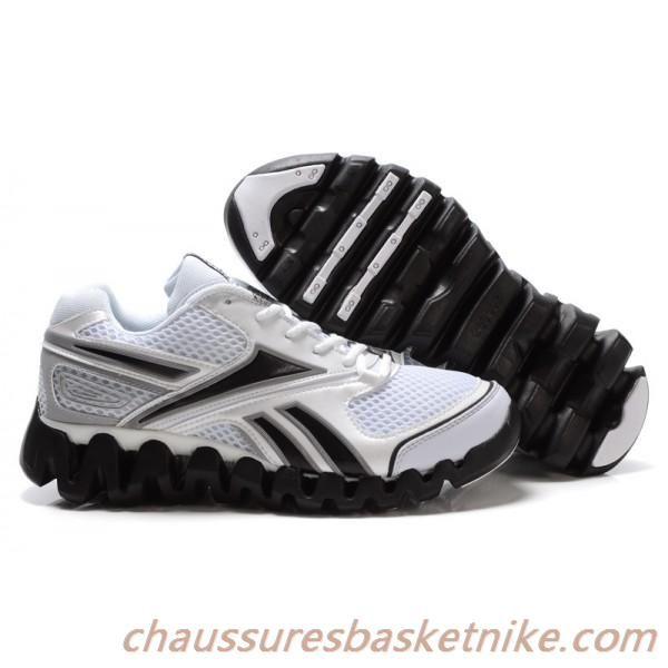 Reebok Zig chaussures hommes de carburant de course en blanc / noir