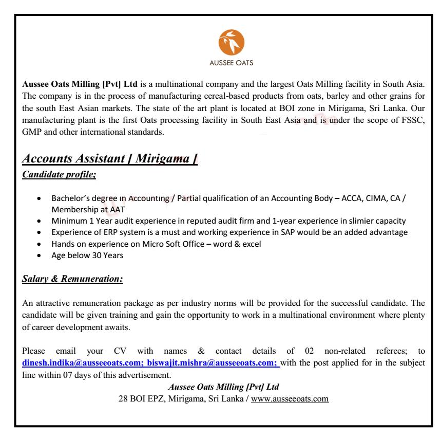 Accounts Assistant Job Vacancy at Aussee Oats Milling Pvt