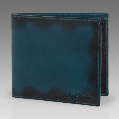 Paul Smith Wallets | Turquoise Hand Burnished Leather Billfold Wallet
