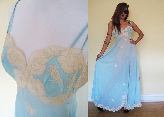 Vintage 70's 80's Vanity Fair blue lace lingerie by RebelCloset