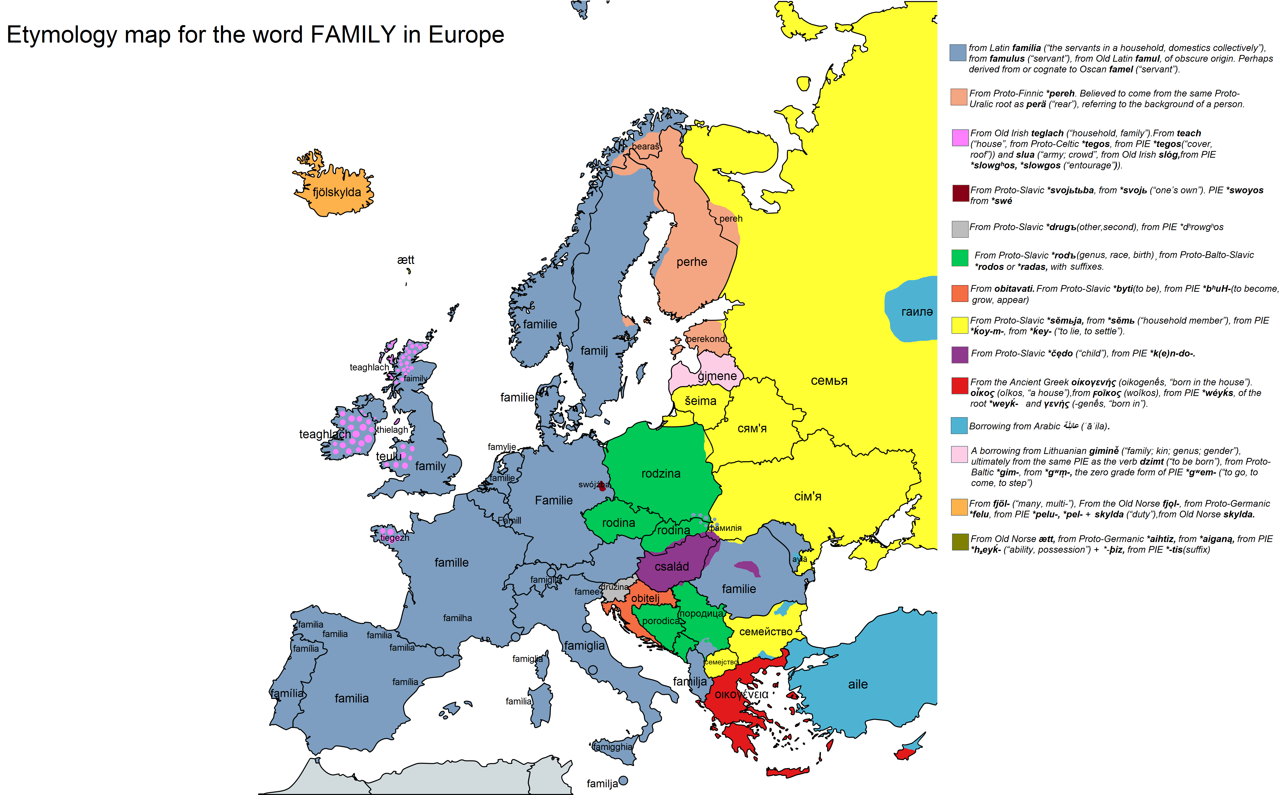 Etymology Map For The Word Family In Europe