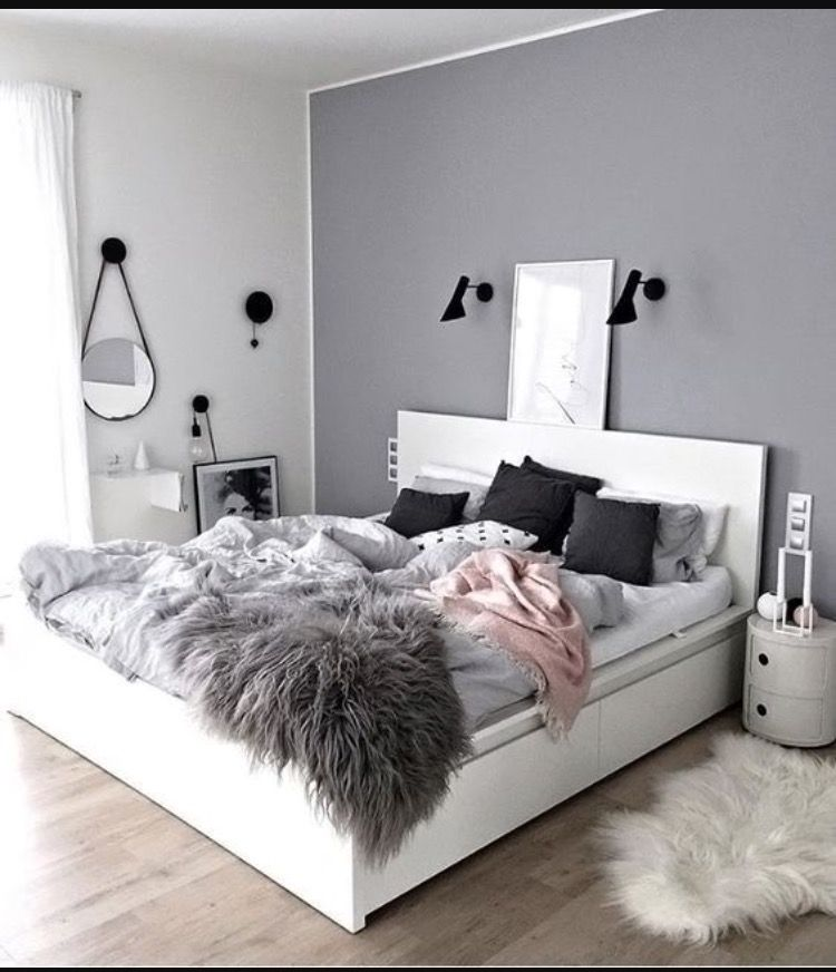 beautiful grey and pink bedroom