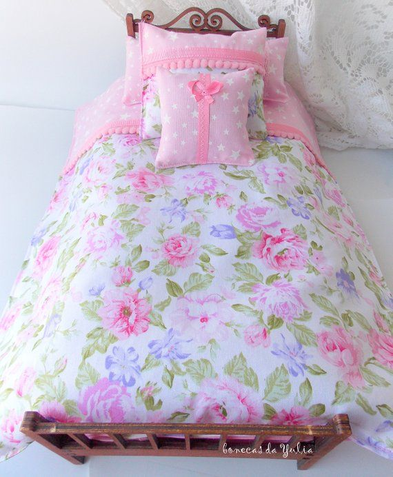 Doll 6 pcs pink purple green bedding set Barbie Monster high Blythe Bratz 1/6 bjd 12 inches doll bed #bearbedpillowdolls