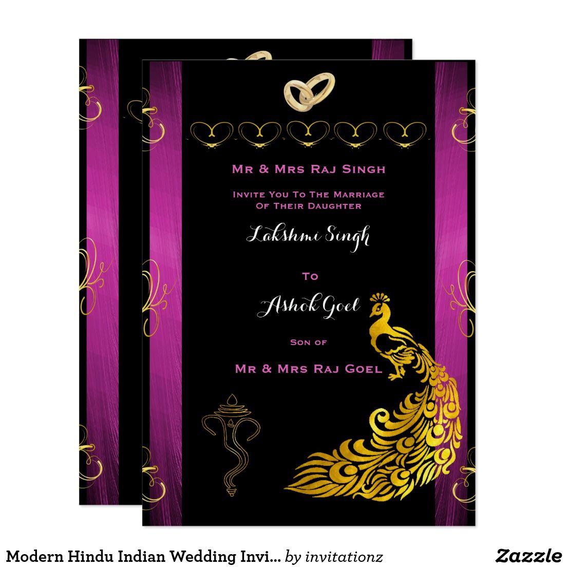 Modern Hindu Indian Wedding Invitation Gold Purple