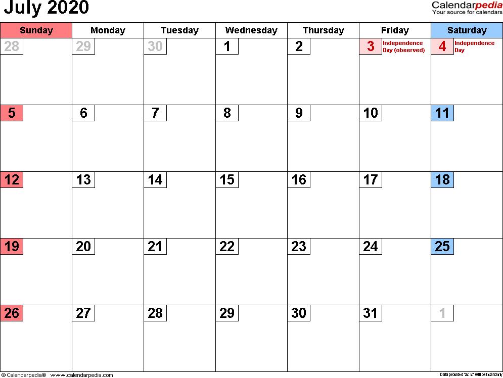 Printable July 2020 Calendar.July 2020 Calendar With Holidays Canada February Calendar