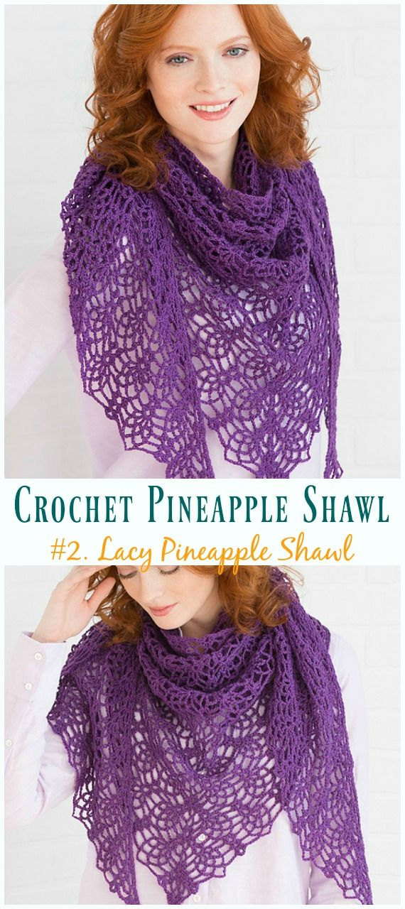 Crochet Pineapple Shawl Free Patterns #shawlcrochetpattern