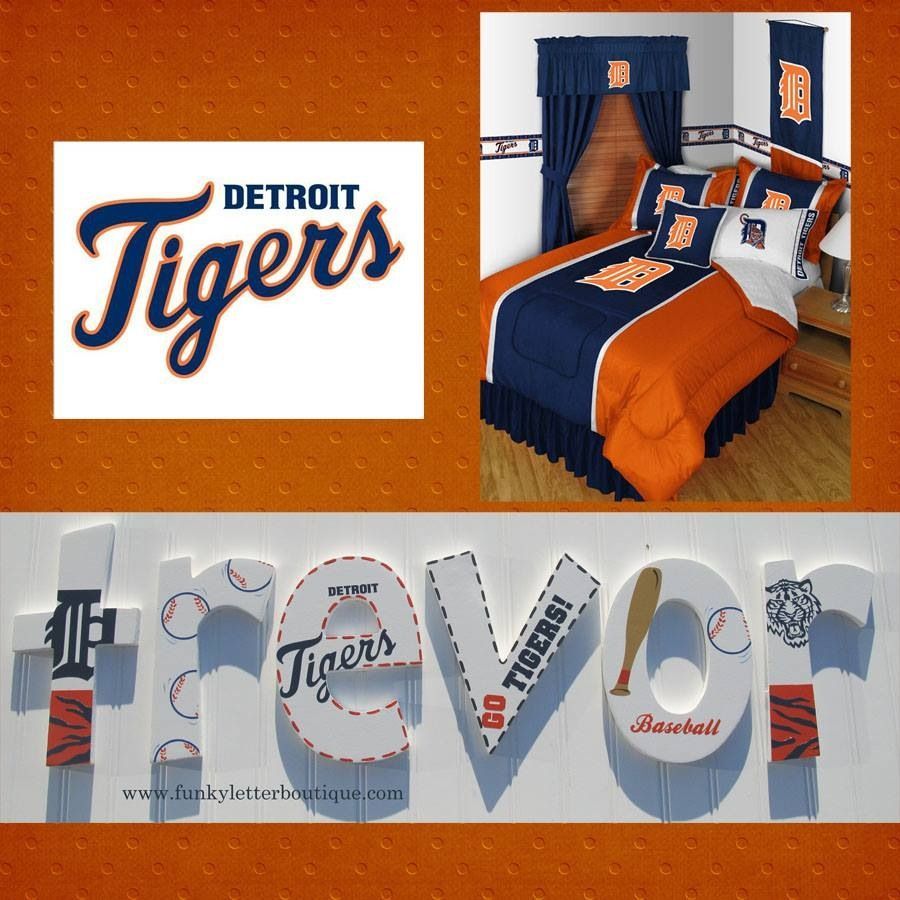 Detroit Tigers baseball room decor hand painted letters by www.funkyletterboutique.com
