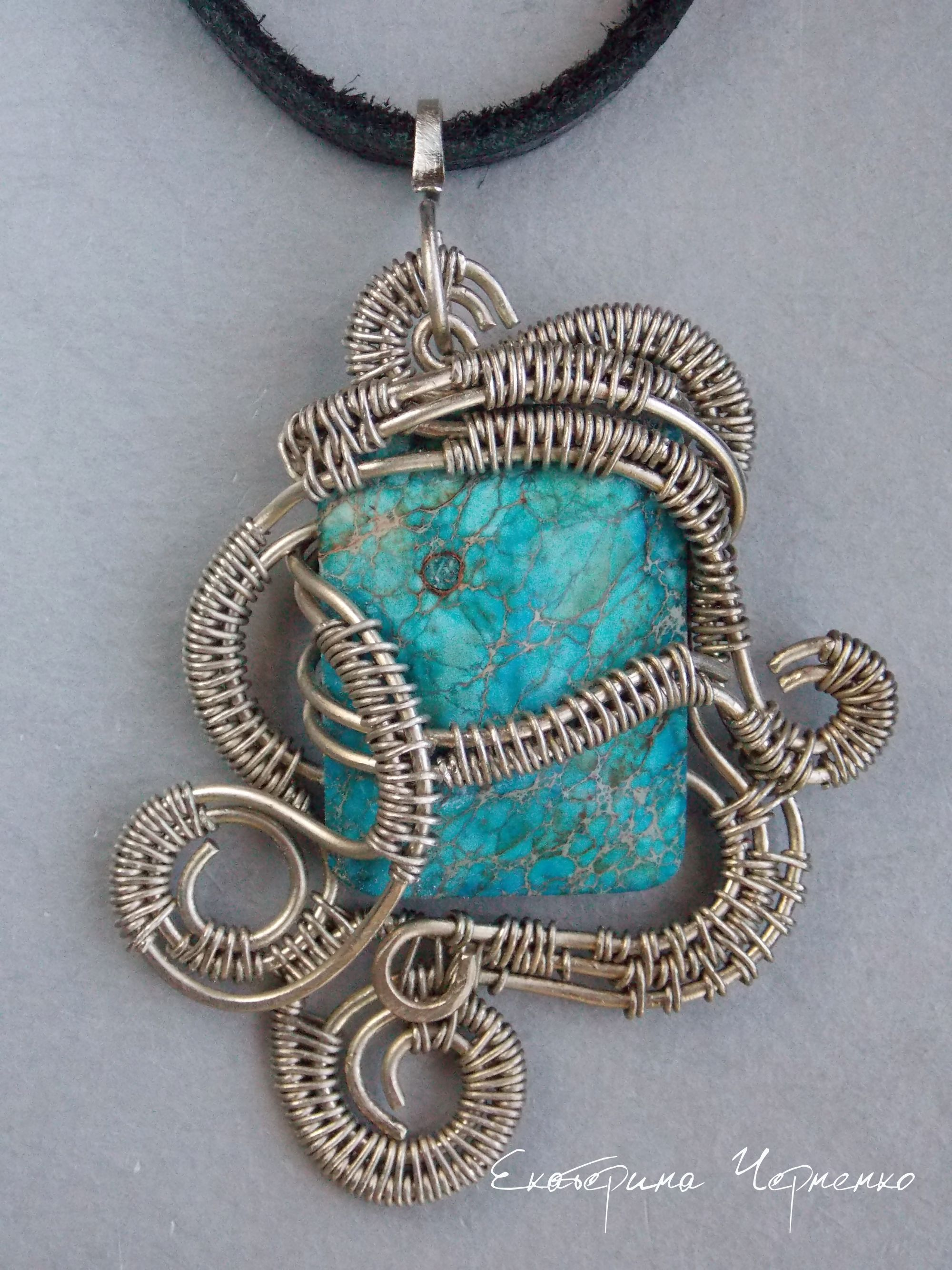 Stone - variscite, metal - nickel silver and melchior