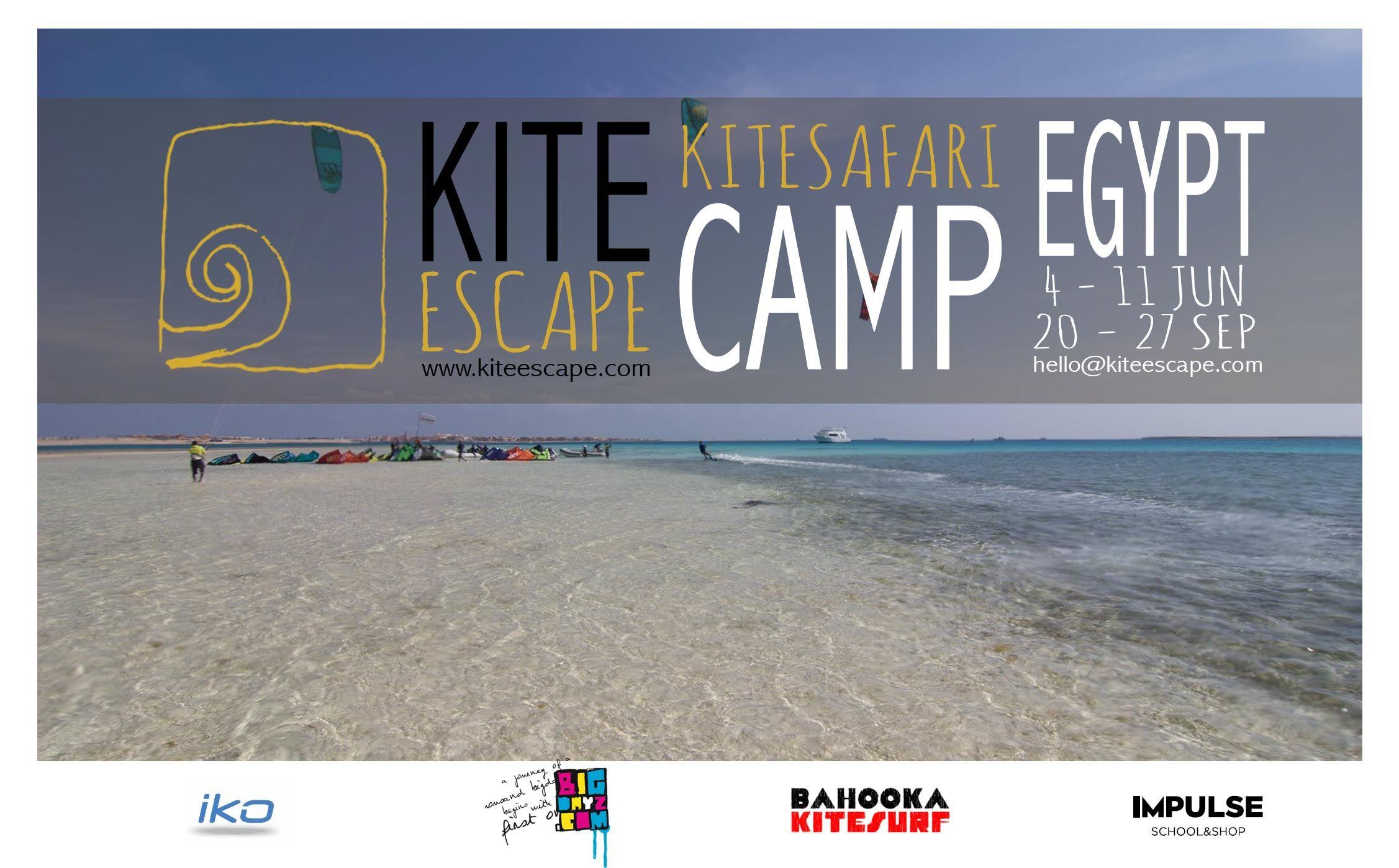 Promo flyer for kite camp in Egypt.