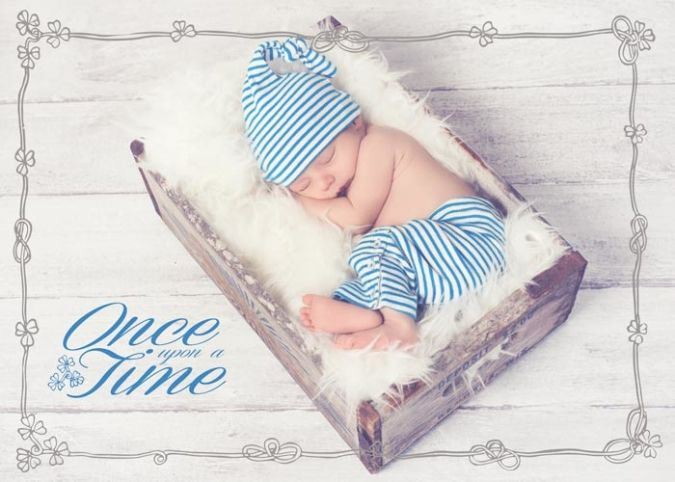 Vintage Fairy Tale: Hand drawn frame and newborn text overlay