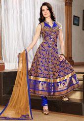 Blue Banarasi Jacquard Readymade Anarkali...