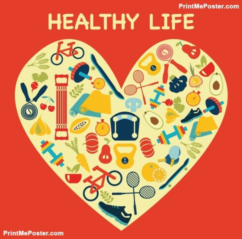 Healthy Lifestyle Background in Heart shape - Illustration poster ...