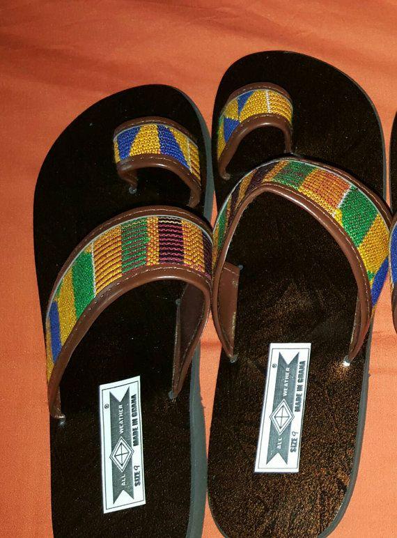 c59901f7d660b African Authentic Woven Kente Cloth Sandals | Kente | Sandals outfit ...