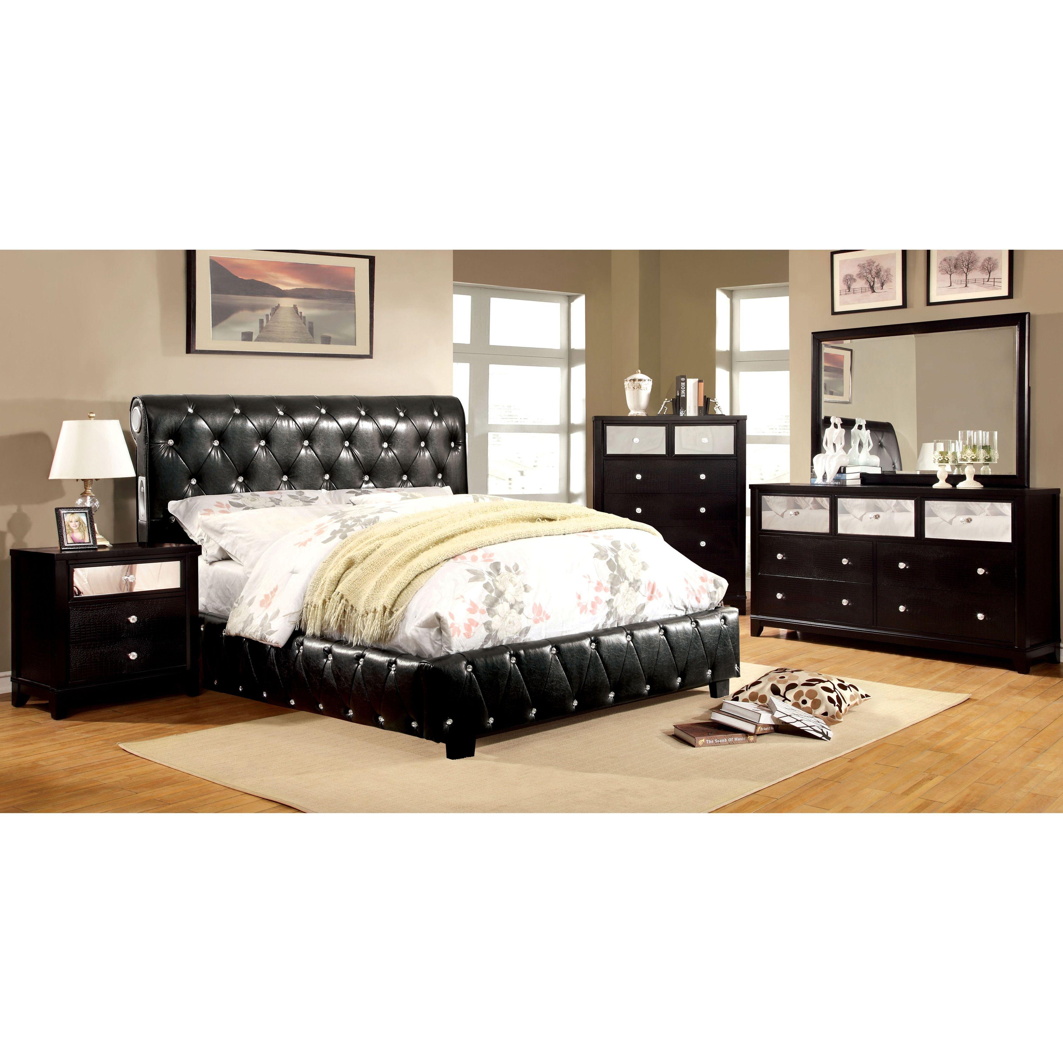 Furniture of America Emmaline Black 4-Piece Bluetooth Bedroom Set ...