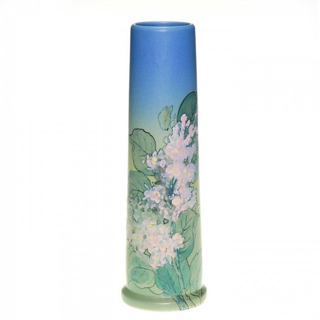 Tall Weller Hudson vase exhibiting a pretty profusion of pink lilac blossoms