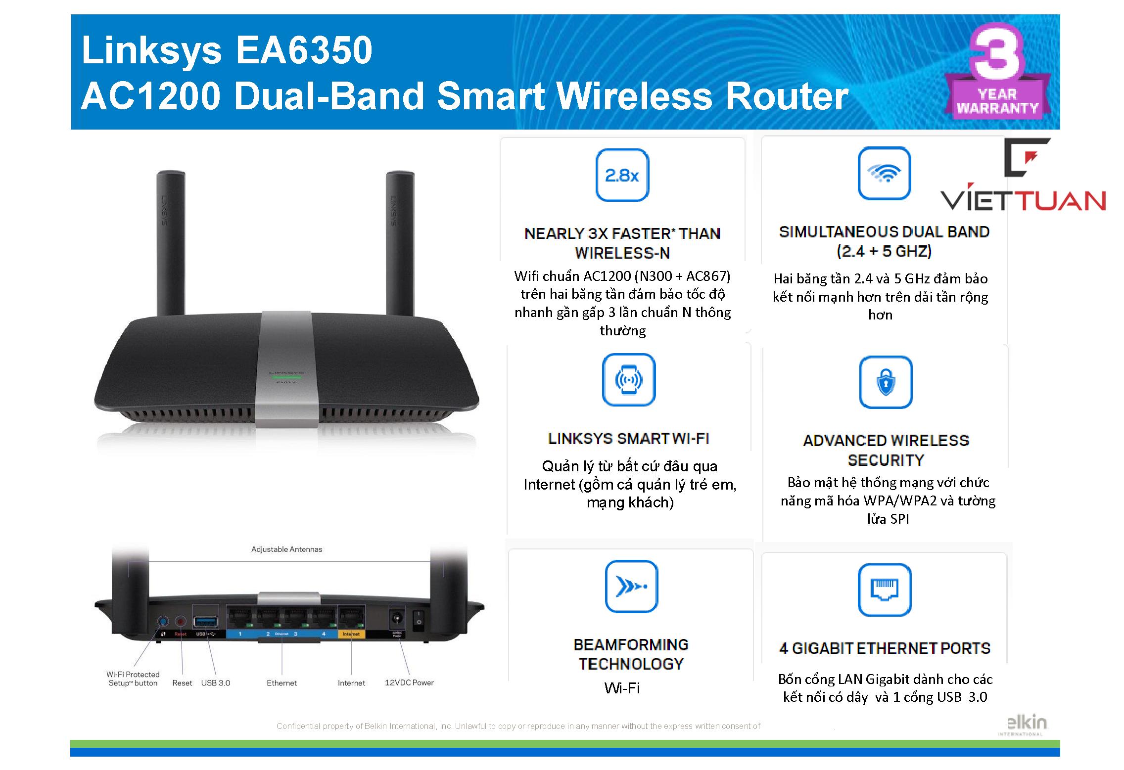 Linksys EA6350 Router WiFi Chuẩn AC 1200Mbps Cáp