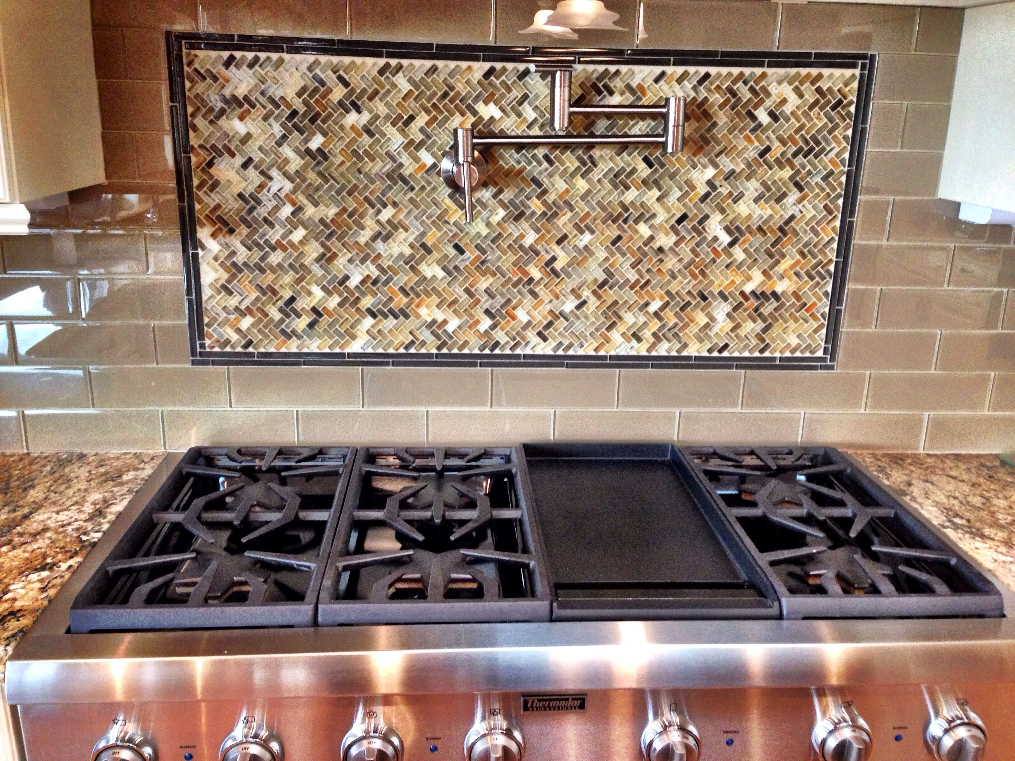 Glass subway tile backsplash with herringbone basket weave tile ...