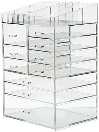 Cq Acrylic Extra Large 8 Tier Clear Acrylic Cosmetic Makeup Storage Cube Organizer With 10 Drawers The Top Of Cube Storage Clear Makeup Storage Cube Organizer